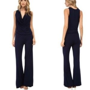 Draped neck solid black jumpsuit